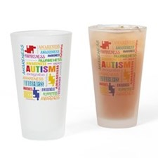 Autism Awareness Collage Drinking Glass