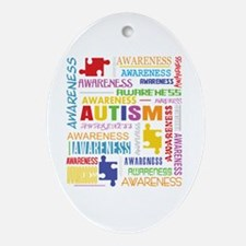 Autism Awareness Collage Ornament (Oval)