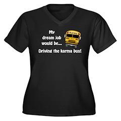 Karma Bus Women's Plus Size V-Neck Dark T-Shirt