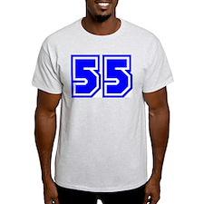Varsity Uniform Number 55 (Blue) Ash Grey T-Shirt