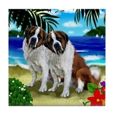 SAINT BERNARD DOGS BEACH Tile Coaster