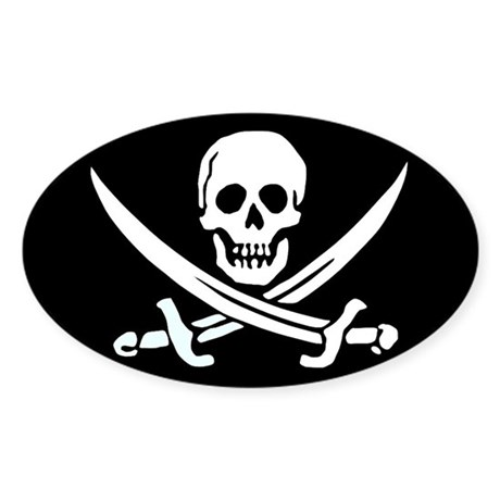 Jolly Roger Oval Sticker