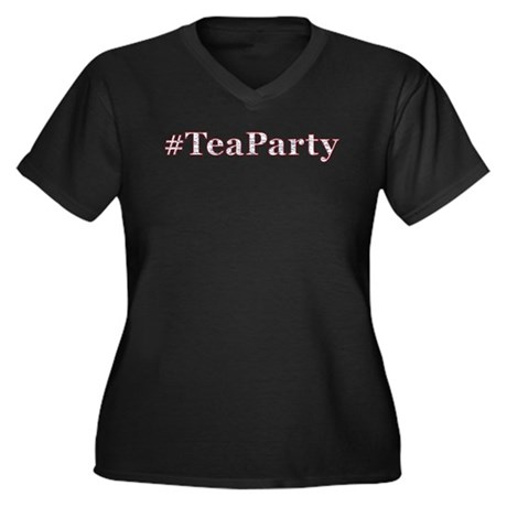 #TeaParty Women's Plus Size V-Neck Dark T-Shirt