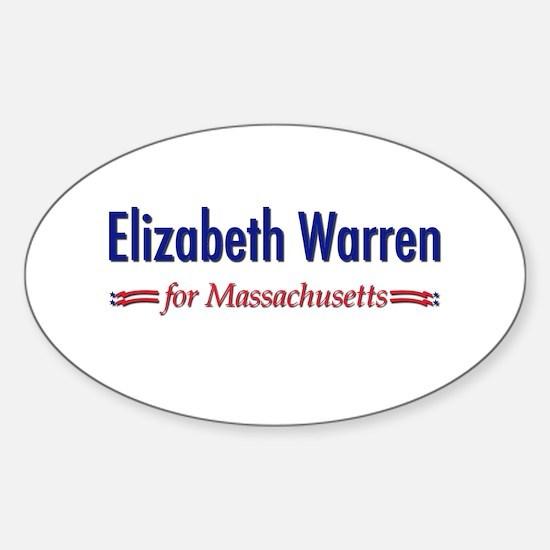 """""""Elizabeth Warren for MA"""" Sticker (Oval)"""