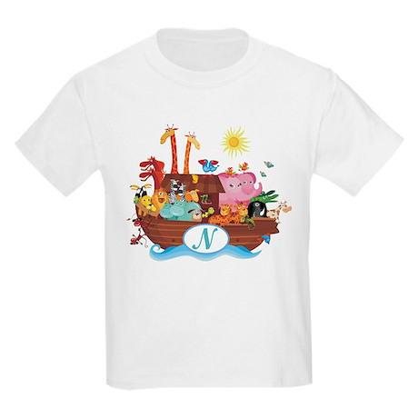 Letter N Initial Noah's Ark Kids Light T-Shirt