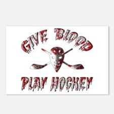 Give Blood Play Hockey Postcards (Package of 8)