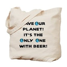 Save Our Planet Beer Tote Bag