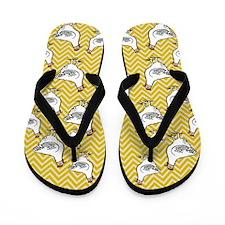 Yellow Chevron Chicken Flip Flops