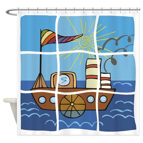 Boat Puzzle Shower Curtain