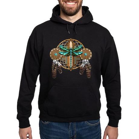 Labradorite Dragonfly Dreamcatcher Hoodie (dark)