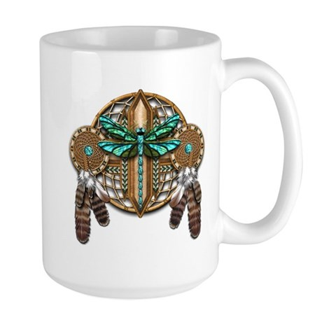 Labradorite Dragonfly Dreamcatcher Large Mug