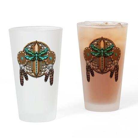 Labradorite Dragonfly Dreamcatcher Drinking Glass