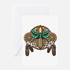 Labradorite Dragonfly Dreamcatcher Greeting Card