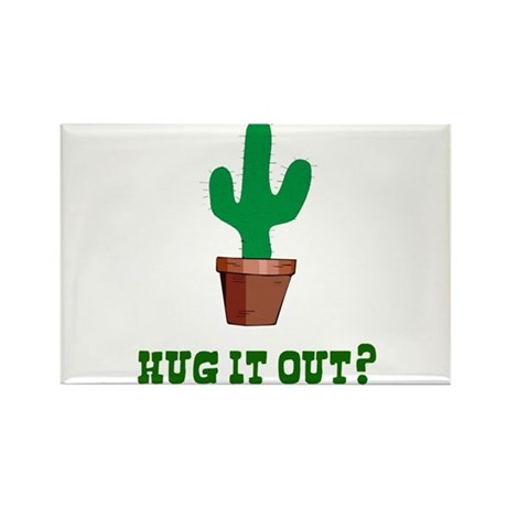 Cactus Hug It Out Rectangle Magnet