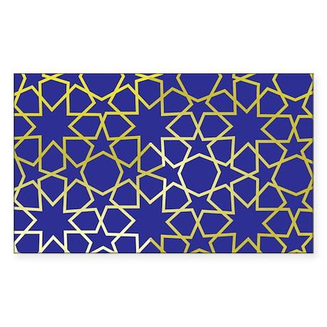 Gold Islamic Art Star Pattern Sticker (Rectangle)
