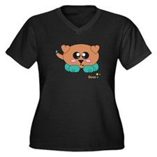 Coco Pudgie Pet Women's Plus Size V-Neck Dark T-Sh