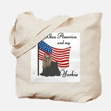 Patriotic Yorkie Tote Bag