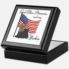 Patriotic Yorkie Keepsake Box