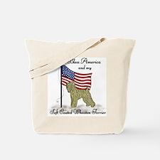 Patriotic Wheaton Terrier Tote Bag