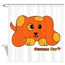 Mustard Pup Pudgie Pet Shower Curtain