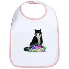 Tuxedo Cat and Pansies Bib