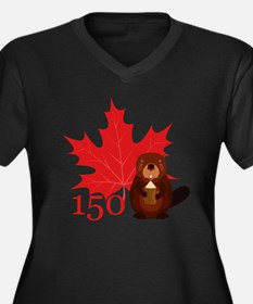 Cool Canada 150 Women's Plus Size V-Neck Dark T-Shirt