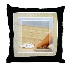 Painted Nails in the Sand Throw Pillow