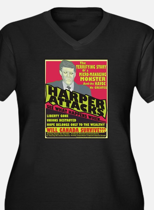 Harper Attacks /Women'sPlusSizeV-Neck Dark T-Shirt