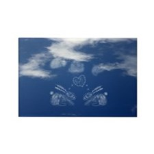 Cute Bunny Love Clouds Rectangle Magnet