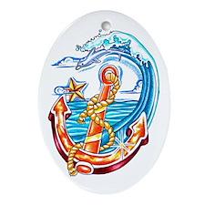 Nautical Anchor Oval Ornament