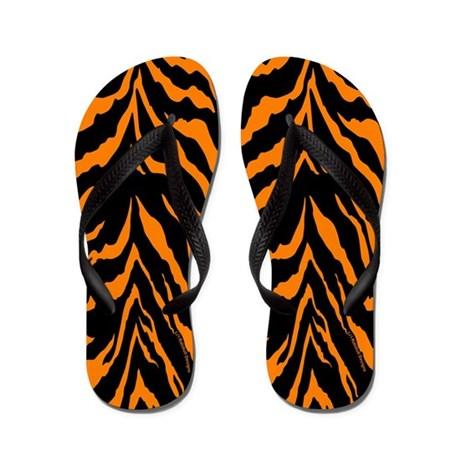 Orange and Black Tiger Stripes Flip Flops