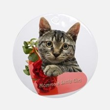 Gray Kitten Momma's Girl Ornament (Round)