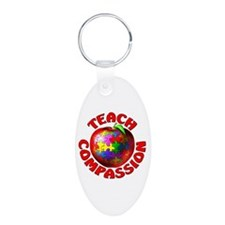 Teach Compassion Aluminum Oval Keychain