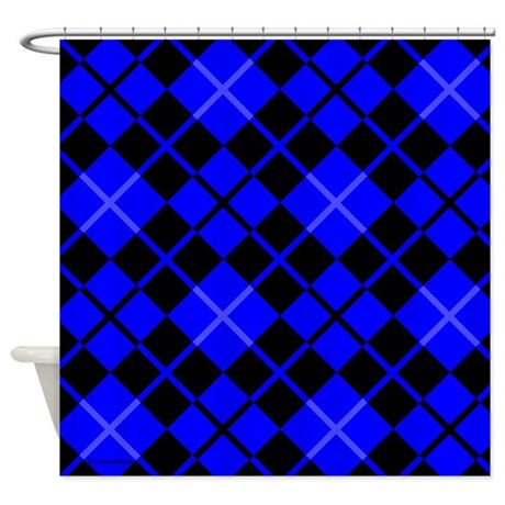 Blue And Black Argyle Shower Curtain By Rainbowhot