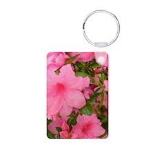 Pink Flowering Azalea Aluminum Photo Keychain
