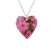 Pink Flowering Azalea Necklace Heart Charm