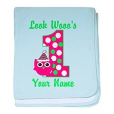 1st Birthday Owl baby blanket