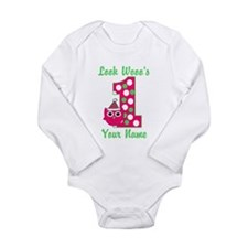 1st Birthday Owl Long Sleeve Infant Bodysuit
