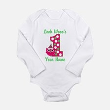 1st Birthday Owl Long Sleeve Infant Bodysuit
