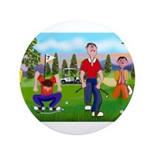 """Frustrated golfers cartoon 3.5"""" Button"""