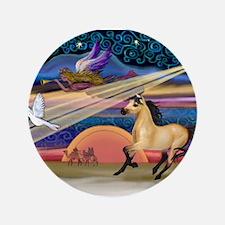 "Xmas Star Buckskin Horse 3.5"" Button"