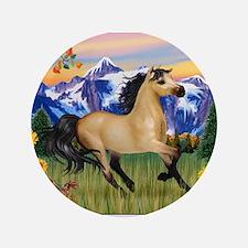 "Mt. Country Buckskin Horse 3.5"" Button"