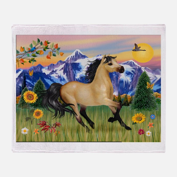 Mt. Country Buckskin Horse Throw Blanket