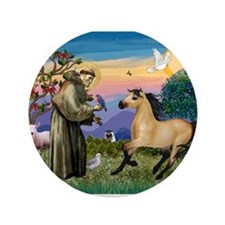 "St. Francis & Buckskin horse 3.5"" Button"