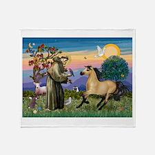 St. Francis & Buckskin horse Throw Blanket