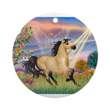 Cloud Star & Buckskin horse Ornament (Round)