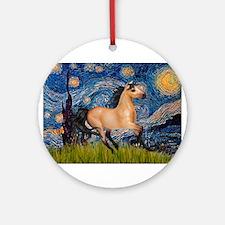 Starry Night Buckskin Ornament (Round)