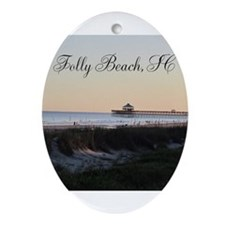 Folly Beach, SC Pier Ornament (Oval)
