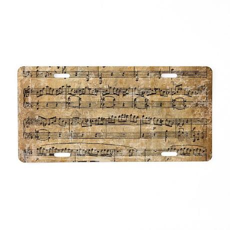 Vintage Sheet Music Aluminum License Plate