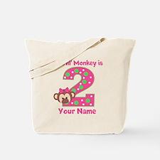 2nd Birthday Monkey Girl Tote Bag